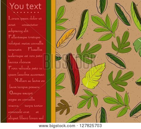 Autumn card with red and yellow leaves. Vector illustration EPS10