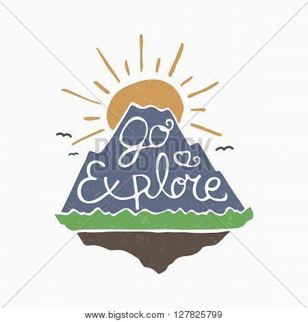 Go explore symbol mountain and rising sun