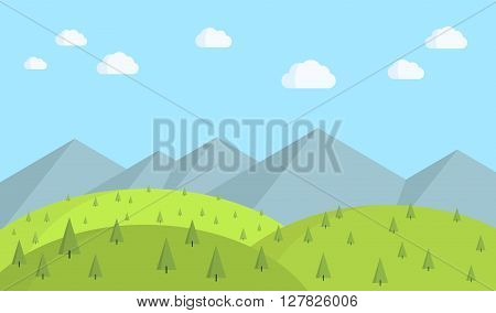 Flat design landscape with trees, hills, mountains and clouds