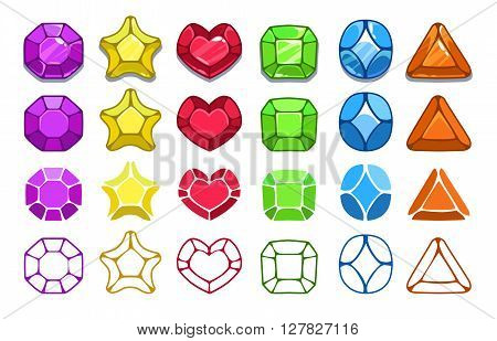 Colorful cartoon gem icons set, jewel assets for game design, different graphic styles, vector GUI elements isolated on white