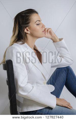 Young Woman Fashion Model Closeup