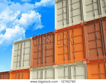 3D Container And Blue Sky