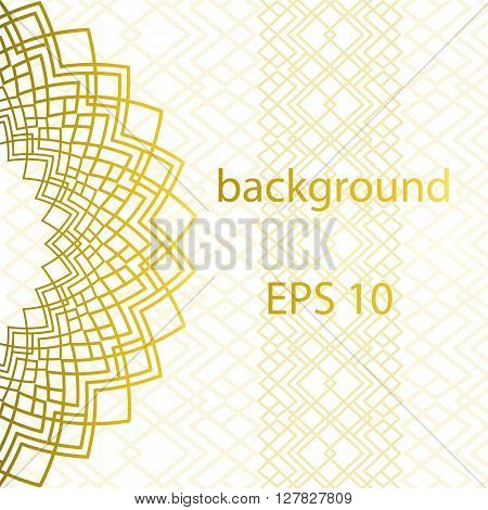 White background with gold ornament and gold pattern in East style with place for text. Template frame design for card. Can be used for packaging invitations  decoration bag template.ornate background. Vector illustration.