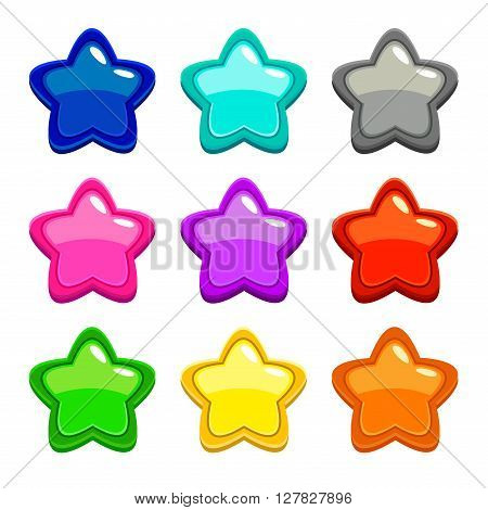 Colorful vector star icons, vector assets for web or game design, GUI elements, isolated on white
