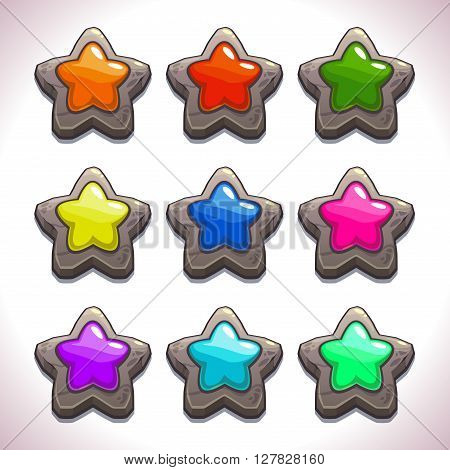 Cartoon stone stars with colorful middles set, vector game or web design elements, GUI assets, abstract star symbol icons, star object for game UI
