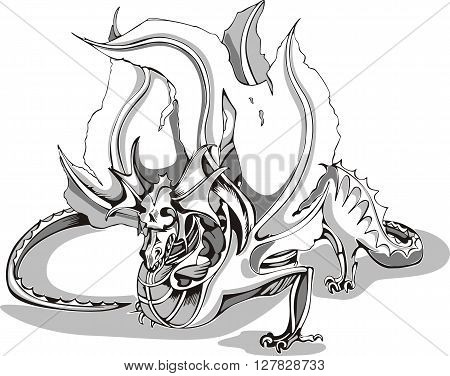 Black And White Sketch Of A Dragon