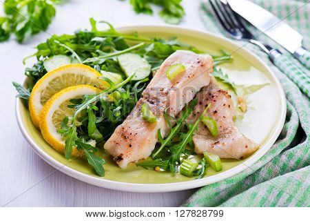 Slice Steamed Fish With Spicy Sauce And Salad