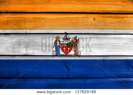 Flag Of Albany, New York, Painted On Old Wood Plank Background