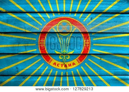 Flag Of Astana, Painted On Old Wood Plank Background