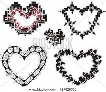 Geometrical Decorative Hearts As Mazes