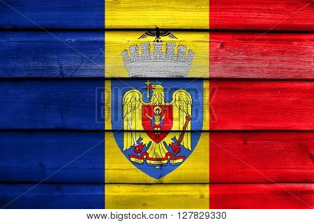 Flag Of Bucharest, Painted On Old Wood Plank Background