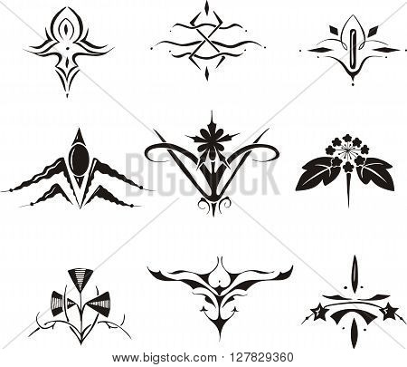 Set Of Symmetrical Floral Decorative Elements