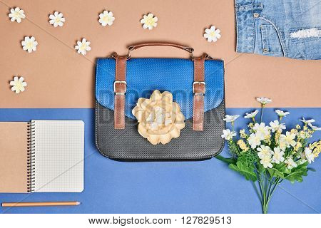 Overhead outfit Fashion girl set, accessories. Creative hipster look, pastel colors. Business handbag, stylish denim shorts, apple and flowers. Unusual urban essentials. Top view, blue background