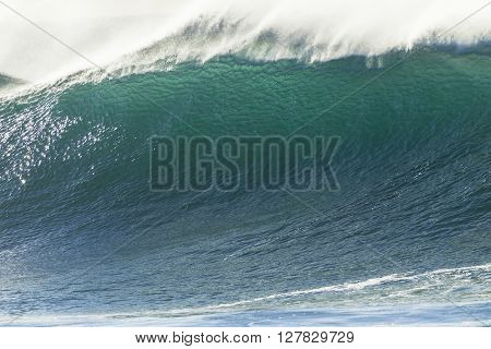 Wave upright wall of crashing ocean water power
