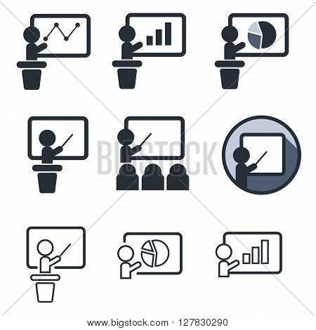 Teaching and audience flat icon set isolated on white. Training or demonstration symbol with diagrams and charts. Man standing with pointer next to school board.