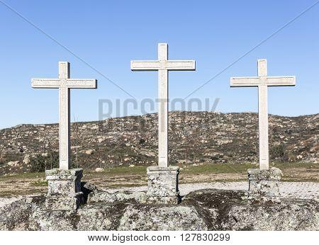 three stone made crosses - Castelo Bom, Guarda, Portugal