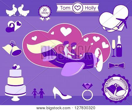 Wedding flight topic. Set wedding attributes. Wedding couple Vector illustration.