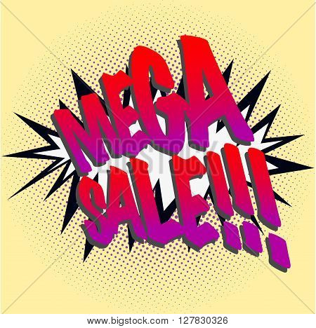 Mega sale sign, comics style mega sale sign on yellow background with dots in various sizes.