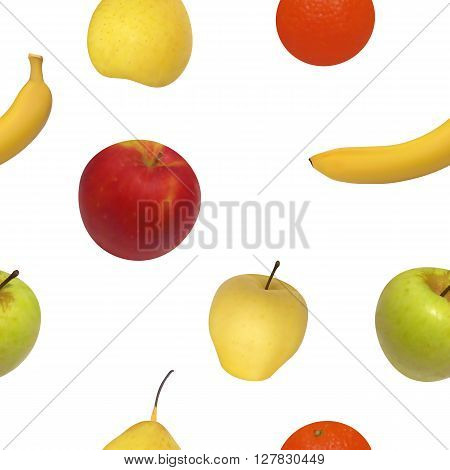 Vector illustration seamless pattern of fruit. Isolated fruit on white background.