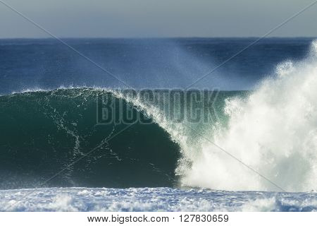 Wave  hollow crashing ocean blue water power