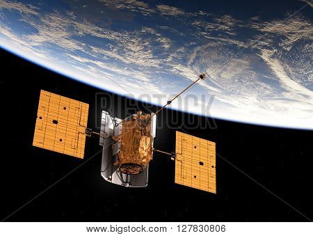 International Satellite Orbiting Blue Earth. 3D Illustration.