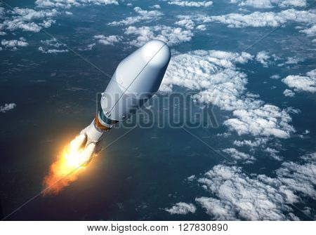 Heavy Carrier Rocket Launch In The Clouds. 3D Illustration.