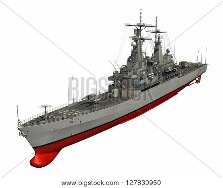 American Modern Warship On White Background. 3D Illustration.