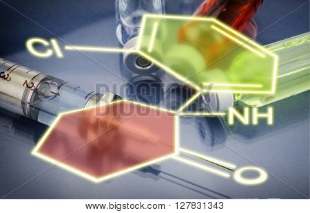 Injections and Syringe Chemical formula, healthcare concept