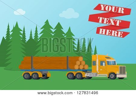 Vector big timber wood truck loaded with logs. Illustration on the background of forest landscape.
