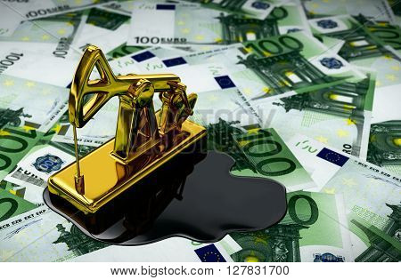 Gold Pumpjack And Spilled Oil On Euros. 3D Illustration.