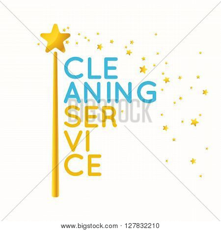 Cleaning service. The logo of the company on cleaning of rooms. Elements for design and web. Vector illustration. Poster cleaning. The design of the cleaning service of offices.