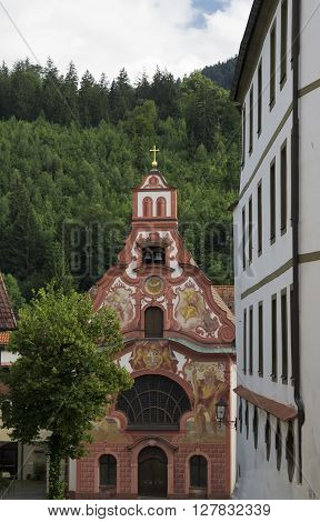 baroque church in fussen in germany during summer
