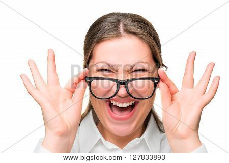 Face Screaming Office Worker Wearing Glasses Isolated Closeup
