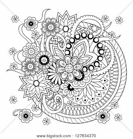 Monochome mandalas and flowers with hand drawn elements. Boho style. Image for adult and children coloring book pages tattoo. For decorate dishes cups porcelain ceramics shirts dresses bags tunics. eps 10.