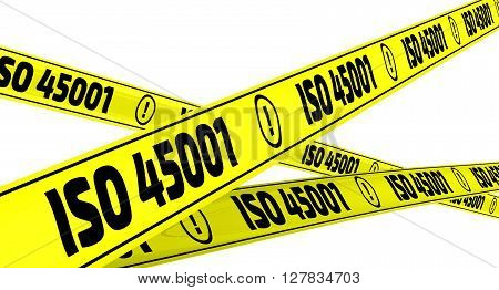 ISO 45001. Yellow warning tapes. Yellow warning tapes with inscription