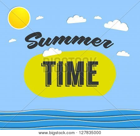 Summer time background with text - illustration. Vector