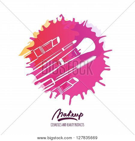 Vector Beauty Logo Or Label Design. Hand Drawn Illustration Of Makeup Brush, Mascara And Lipstick.