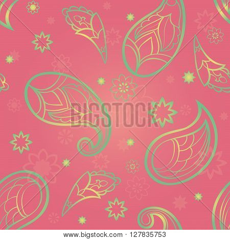 Ornament of stylized paisley flowers and stars. Vector seamless pattern. Template for textile wrapping linen wallpaper.