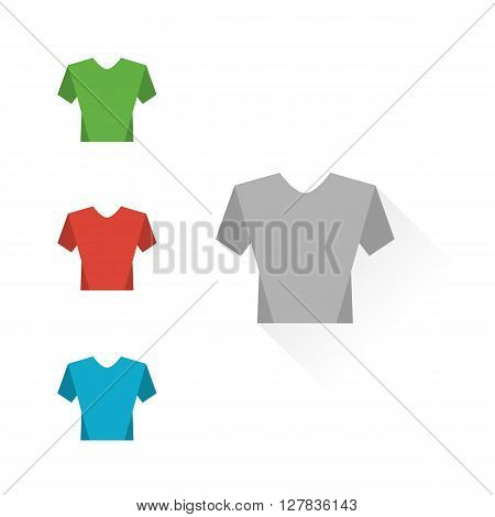 Set of colour t-shirts on a white background. Mockup shirts. Flat design T-shirts  on a white background - stock vector
