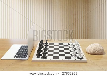 Computer vs human brain concept with two of the previously mentioned playing chess on wooden desktop. 3D Rendering