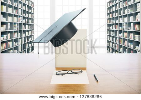 Graduation concept with book graduation cap glasses and paper on wooden desktop. Library background. 3D Rendering