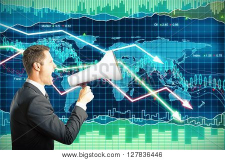 Businessman screaming into a megaphone on forex background with downward arrows