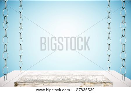 Blank shelf suspended on chains on blue background. Mock up 3D Rendering