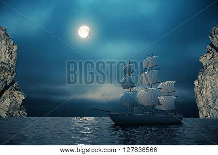Ship on water with night sky cliffs and moon in the background. 3D Rendering