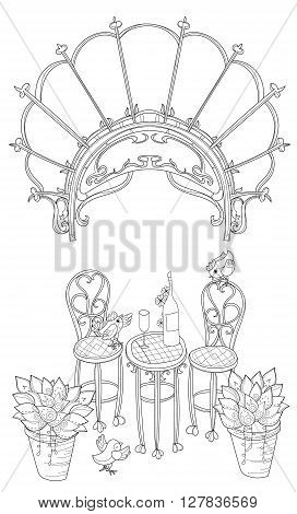 Vector cute wine table in Paris.Vector line illustration.Sketch for  coloring adult book.Boho style hand drawn doodle.Terassa, chairs, table, teapot, pie, plants in pots, birds, tea time, stone arch.