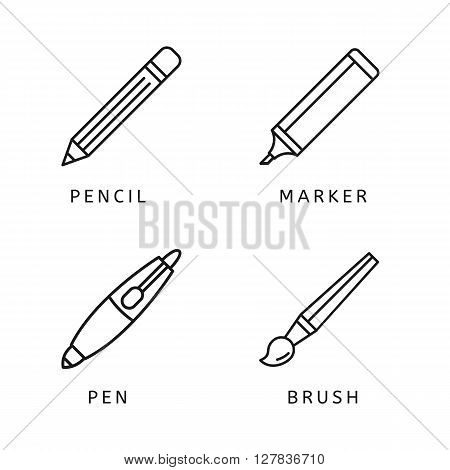 Modern thin line icons set of pen, pencil, marker, paint brush. Premium quality outline symbol collection Simple mono linear pictogram pack Stroke vector logo concept for web graphics