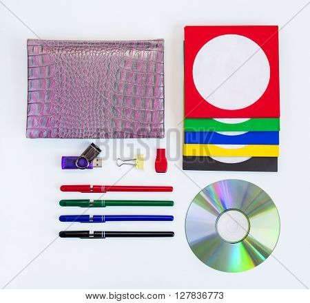 CDs / DVD envelopes for disks on white background business technologies