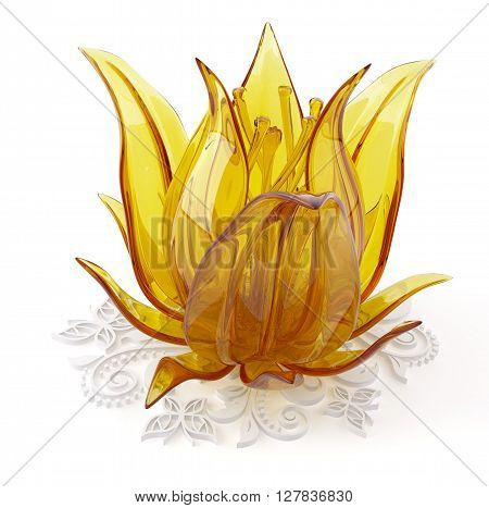 3D object from the glass on a white flower, 3D rendering