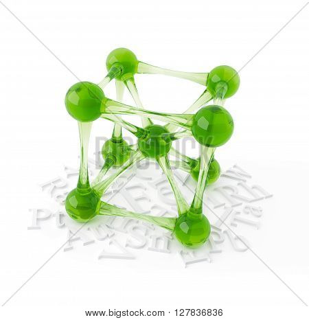 Object from the glass on a white molecular lattice, 3D rendering