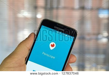 MONTREAL CANADA - APRIL 7 2016 : Periscope application on a cell phone. Periscope is a live video streaming app for iOS and Android developed by Kayvon Beykpour and Joe Bernstein.